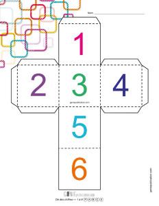 Dé des chiffres – 1 à 6