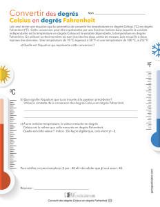 Convertir des degrés Celsius en degrés Fahrenheit