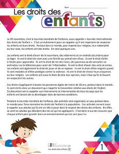 Les droits des enfants – 2ᵉ cycle