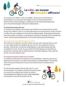 Le vélo, un moyen de transport efficace !