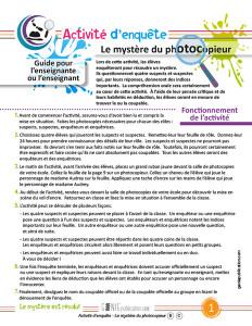 Activité d'enquête – Le mystère du photocopieur