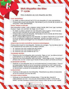Mots étiquettes des fêtes – 1ᵉʳ cycle