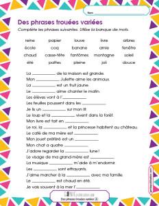 Des phrases trouées variées