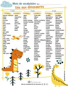 Mots de vocabulaire liés aux dinosaures