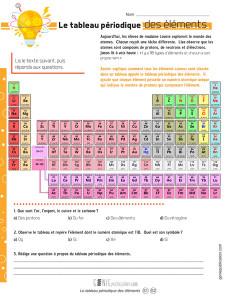 Le tableau périodique des éléments sous observation