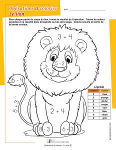 Opérations à colorier – Le lion