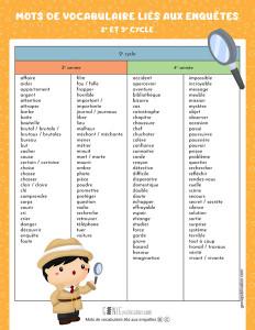 Mots de vocabulaire liés aux enquêtes