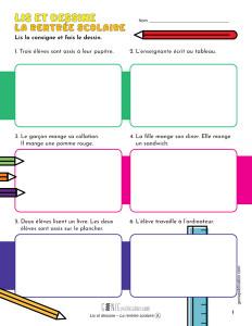 Lis et dessine – La rentrée scolaire