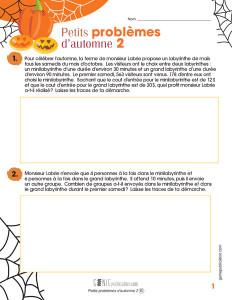 Petits problèmes d'automne 2