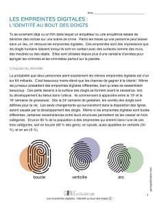 Les empreintes digitales : l'identité au bout des doigts