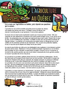 L'agriculture au Québec