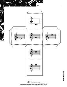 Dé musical – La clé de sol et la clé de fa