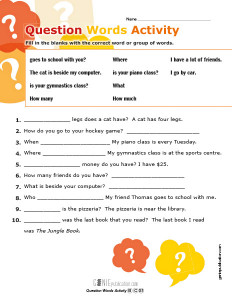 Question Words Activity
