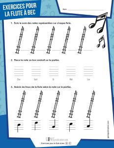 Exercices pour la flute à bec