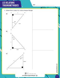 Les relations trigonométriques