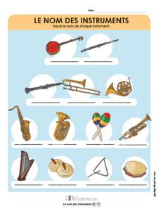 Le nom des instruments