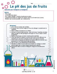 Le pH des jus de fruits