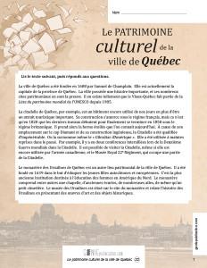 Le patrimoine culturel de la ville de Québec