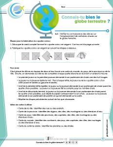 Connais-tu bien le globe terrestre ?