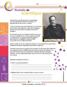 Portraits de scientifique – Louis Pasteur