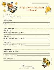 Argumentative Essay – Planner
