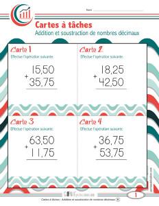 Cartes à tâches – Addition et soustraction de nombres décimaux