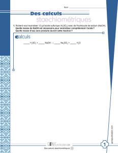 Des calculs stœchiométriques