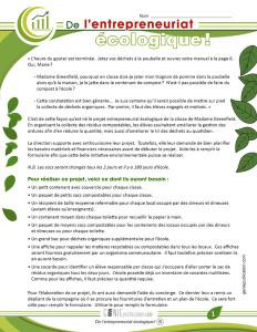 De l'entrepreneuriat écologique !